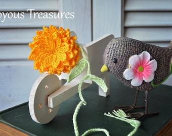 Handmade Bookmark - Crochet Bookmark - Orange Flower Dahlia Bookmark - Booklover Gift - Reader Gift