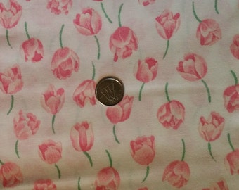 PK017 ~ White fabric Pink fabric Pink tulips Pink flowers Springtime
