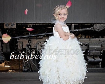 Flower Girl Dress, Feather Dress - Full length Girls Dress -  Bijou - Made to Order Girls Sizes -  24m, 2t, 3t, 4t