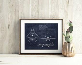 F-22 Raptor blueprint art print, aviation decor, airplane art, airplane decor, aircraft art, nursery art, gifts for him, father's day gift