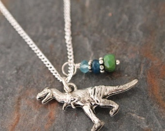 Raptor Necklace, Blue Apatite, Jade, Turquoise