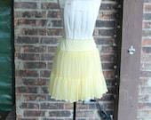 Vintage 1960s Yellow Short Petticoat Half Slip with Ruffles