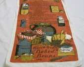 Vintage Tea Towel, Baked Beans, Brick Oven Baked Beans, Baked Beans Recipe ,Sewell Jackson, Towel with pictures, Linen Towel