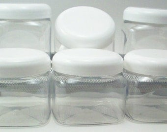 16 Ounce Square Jars with White Lids - Set of 6  Clear PET Plastic Packaging