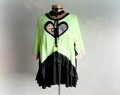 Bohemian Tunic Up Cycled Boho Top Neon Green Plus Size Shirt Lagenlook Clothing Heart Applique Women Boho Clothes Altered Fashion 2X 'AMANDA