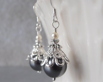 Grey Pearl Earrings Pearl Bridesmaid Earrings Beaded Wedding Jewelry Swarovski Pearl Jewelry Grey Wedding Dark Gray Bridesmaid Jewelry Gift