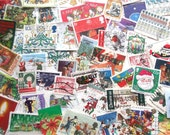 Christmas postage stamps | Santa, Snowmen, Robins, Christmas Trees, Red, Green, Nativity | modern + vintage used stamps Christmas card craft