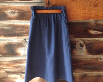 Navy blue A-line skirt / high-waisted / size small - medium / elastic