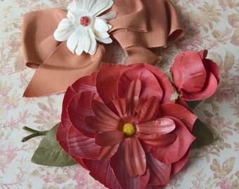 Vintage Millinery Flowers & Ribbon Hair Combs