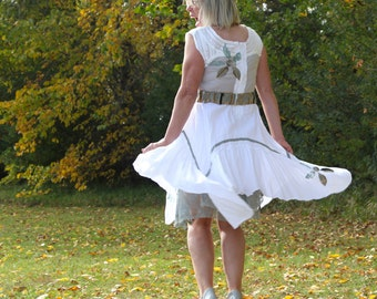 upcycled clothing, handkerchief hem dress . beauvallon . S - M