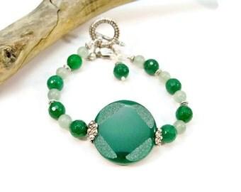 Jade Single Strand Bracelet, Green Jade and Silver Bracelet, Women's Bracelet, Gifts for Her,