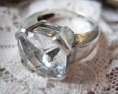 Vintage rock crystal ring, Vintage solitair rock crystal ring, Vintage 1950s ring, cushion cut rock crystal ring