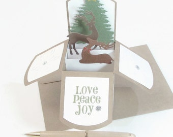 Pop Up Christmas Card In Box - Deer Holiday Pop Up Card - Christmas Pop Up Card - Customizable Keepsake Card - Gift Card Holder