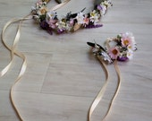 Bridal Wildflower Halo and wristlet, set of 2 Wedding Flower Crown floral bracelet corsage pink hair wreath eucalyptus accessories lavender
