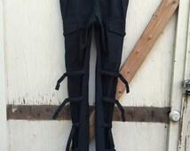 ANN DEMEULEMEESTER bondage pants rare buckle leg gothic designer cargo military avant garde dark blue witch fetish unique 40