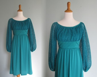 Romantic 80s Teal Jersey Dress with Lace Bodice - Vintage Sea Green Fit and Flare Dress - Vintage 1980s Dress S