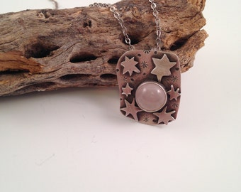 Starry night necklace - sterling silver with rose quartz