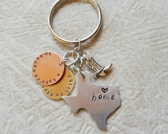 State Home Aluminum Key Chain - Choose Your State - Latitude & Longitude - Personalized Home Town - Graduation Gift - Choose Your Charm