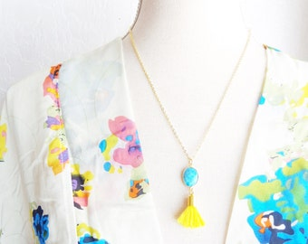 Turquoise Gemstone Tassel Necklace - Yellow Tassel Necklace - Gemstone Pendant Necklace - Long Tassel Necklace - Layering Necklace