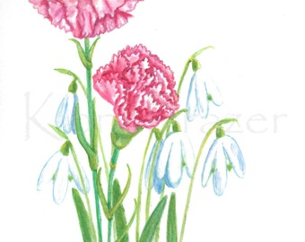 Carnation and Snowdrop January birthday flower, original watercolor painting, birth month flower, January birthday gift