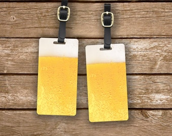 Pint of Beer Personalized Luggage Tags Glass of Beer Luggage Tags - Full Metal Tags Luggage Tag Set Personalized, 2 Tags choice of Strap