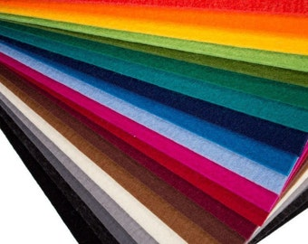 "12"" x 12"" x 5mm Thick Designer Wool Felt Square - 100% Wool, Solid Tone, Over 20 Colours Available"