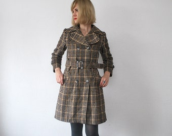 70s wool coat. plaid coat. belted coat. double breasted coat - xs, small