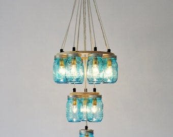 Mason Jar Chandelier, 3 Tiers, 12 Blue Jars, Mason Jar Lighting, Handcrafted Hanging Pendant Light Fixture, BootsNGus Lights, Bulbs Included