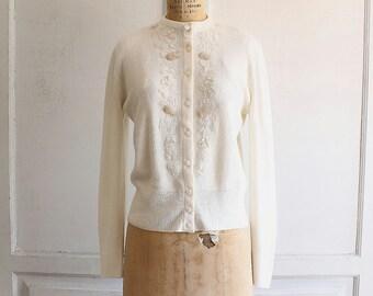 white sequin beaded cardigan sweater 60s vintage orlon