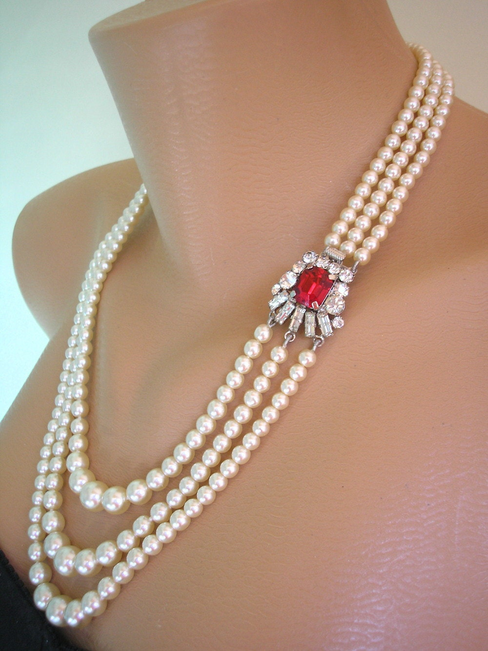 Ruby And Pearl Necklace Red Rhinestone Choker Vintage Bridal