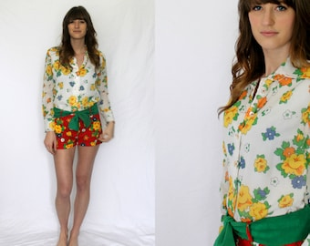 Floral Hot Pants Shorts Blouse Playsuit 1960s 1970s Vintage - Red Orange Yellow Green Small Medium