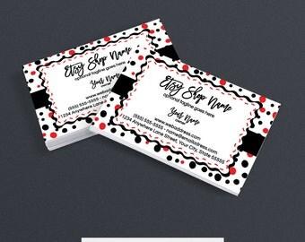 Business Card Designs - Business Card Design - Polka Dot Business Card - Printable - Confetti Fun Red, White, Black