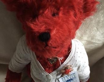 "Annie 17"" red mohair bear ,July birthstone  ,artist handmade OOAK"