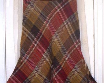 marlboro classics suede and wool weave plaid midi skirt