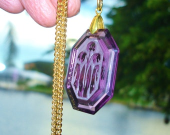 Etched Amethyst Glass Intaglio Lily of Valley Flower Pendant Gold Tone Chain