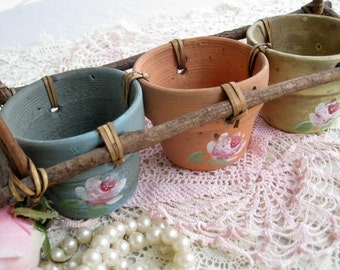 Three Pots, Roses, Shabby Chic, Clay Pots, Garden Decor, Shabby French, by mailordervintage on etsy