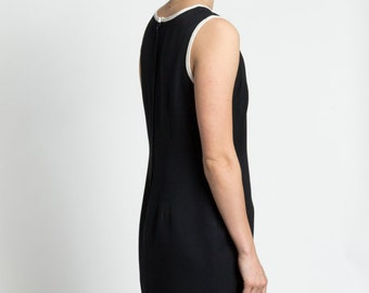 Vintage 90s Minimal Sleeveless Little Black Dress with White Trim | 6