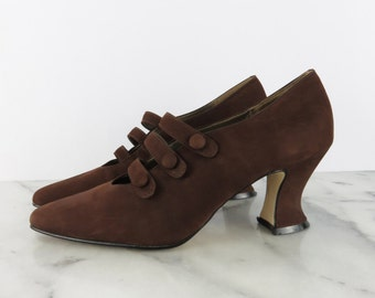 SALE // 9 & Co Suede Strappy Pumps Brown Leather Point Toe Victorian Kitten Heels Made in Brazil sz 6.5 7