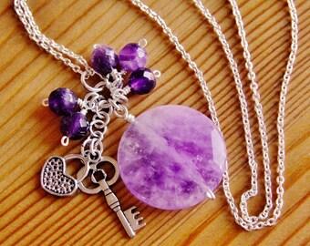 SALE Amethyst necklace, purple necklace, gemstone jewelry, charm pendant necklace, long boho necklace, hippie necklace, gypsy jewelry, OOAK