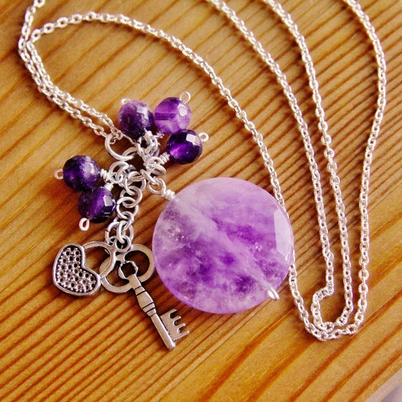 SALE Amethyst necklace, purple necklace, gemstone jewelry, charm pendant necklace, long boho necklace, hippie necklace, gypsy jewelry, OOAK
