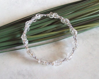 Silver Memory Wire Bracelet - Beaded Tatting - Beaded Lace Bracelet - Multi Wrap - Clear Beads - Silver Grey Thread - Maia