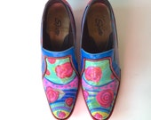 """Unique Hand Painted Leather Shoe Whimsical Floral Design One of a Kind Size 7-1/2 Recycled with 2"""" Heel"""