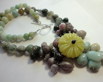 Olive Jade Flower Necklace Olive Jade Floral Gemstone Bib Collar Statement Necklace with Amazonite Sugilite and Sterling Silver
