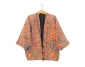 Vintage Kimono Jacket * Batik Cocoon Coat * Oversized Jacket * Large - XL