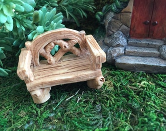 Miniature Bench, Fairy Garden, Miniature Gardening Accessory, Garden Decor, Terrarium Accessory, Topper, Shelf Sitter, Mini Wood Look Bench