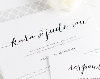 Romantic Wedding Invitations - Calligraphy Wedding Invites - Silver, Gray, Script Wedding Invite - Flowing Script Wedding Invitation