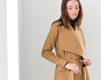 Camel Coat / Winter Coat / Wool Jacket / Stylish Jacket / Wrap Jacket / Duster Coat / Trench Coat / Marcellamoda - MC0270