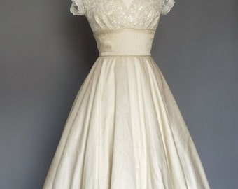 Champagne Silk & Ivory Lace Sweetheart Tea Length Circle Skirt Wedding Dress - Made by Dig For Victory