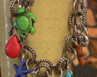 Beach bracelet, beach charm bracelet, sea shells, sea turtles, starfish charms, flamingo charms, boho bracelet, charm bracelet
