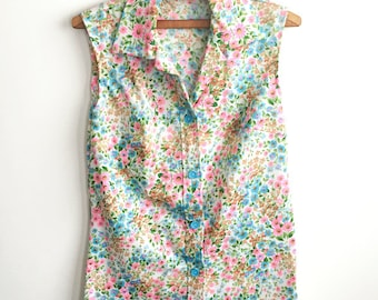 1960s Neon Floral Tank Top